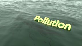 Il nuoto giallo di inquinamento di parola nell'oceano Immagine Stock