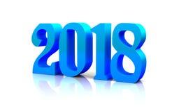 Il nuovo anno 3D lucido blu calcola nel fondo bianco Immagine Stock Libera da Diritti