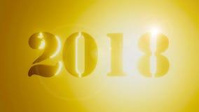 il nuovo anno 2018 3d rende l'oro Immagine Stock Libera da Diritti
