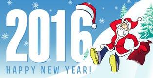 Il nuovo anno di Santa carda 2016 Immagine Stock Libera da Diritti
