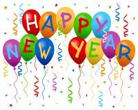 Il nuovo anno felice Balloons la bandiera Fotografie Stock