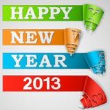 Il nuovo anno felice ha arricciato le strisce Immagini Stock Libere da Diritti