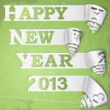 Il nuovo anno felice ha arricciato le strisce sul documento del grunge Immagine Stock Libera da Diritti