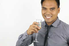 Il nuovo anno - giovane filippino con un flûte fotografia stock