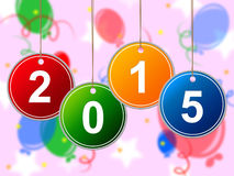Il nuovo anno indica due Thosand quindici ed annuale royalty illustrazione gratis