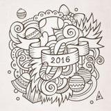Il nuovo anno scarabocchia il fondo degli elementi Fotografia Stock Libera da Diritti