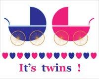 Il nuovo bambino gemella l'annuncio Immagini Stock