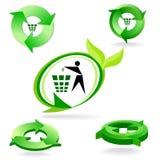 Il nuovo BIO- verde ricicla le icone ed i simboli Fotografie Stock Libere da Diritti