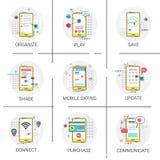Il nuovo gioco di risparmi della parte di Apps dell'aggiornamento comunica l'acquisto organizza, insieme dell'icona dello Smart P Immagini Stock Libere da Diritti