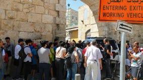 Il nuovo portone bocked dopo l'attacco a Temple Mount Fotografie Stock