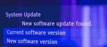 Il nuovo software di sistema ha trovato sul monitor moderno della TV Fotografia Stock Libera da Diritti