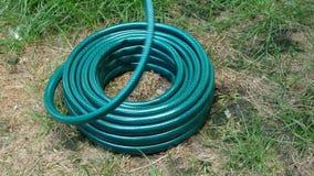 Il nuovo tubo di gomma verde, che si trova nel cortile, è di svolgersi sulla spirale e tirato in avanti stock footage