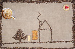 Il nuovo Year& x27; immagine di s dai chicchi di caffè Fotografie Stock Libere da Diritti