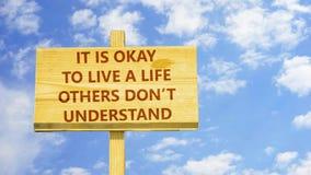 Il ok du ` s à vivre une vie d'autres mettent le ` t comprennent illustration libre de droits