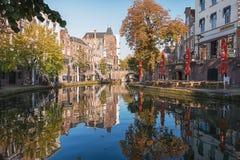 Il Oude Gracht nel centro storico della città di Utrecht Immagini Stock Libere da Diritti