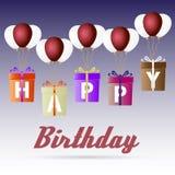 Il pacchetto del regalo delle variazioni di buon compleanno che sale con le icone dei palloni dell'elio ha messo eps10 Fotografie Stock