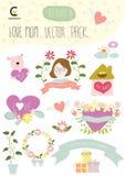 Il pacchetto felice di vettore di festa della mamma della mamma di amore comprende l'elemento per il deco Immagini Stock Libere da Diritti