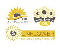 Il pacchetto naturale di vettore del prodotto dell'olio da cucina del girasole identifica i modelli messi illustrazione di stock