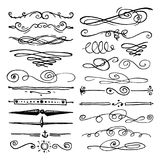 Il pacchetto o l'insieme enorme ha inciso disegnato a mano nel vecchio o stile antico di schizzo, elementi calligrafici di proget illustrazione vettoriale