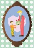 Il padre dà a suo figlio un presente Fotografie Stock Libere da Diritti