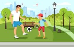 Il padre del fumetto gioca a calcio con il figlio in parco illustrazione di stock