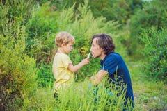Il padre ed il figlio usano uno spruzzo da un'allergia a causa di un'allergia Fotografie Stock Libere da Diritti
