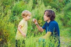 Il padre ed il figlio usano uno spruzzo da un'allergia a causa di un'allergia all'ambrosia Immagini Stock Libere da Diritti