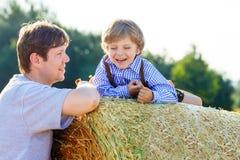 Il padre ed il piccolo figlio che si divertono sul fieno giallo sistemano di estate Fotografia Stock Libera da Diritti