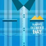 Il padre felice Day Family Holiday, maschio ha controllato la cartolina d'auguri del fondo della camicia Immagini Stock