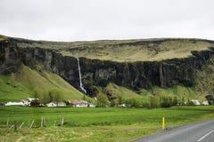 Il paesaggio alloggia la cascata dell'erba verde dell'Islanda Immagini Stock