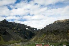 Il paesaggio alloggia la cascata 2 dell'erba verde dell'Islanda Fotografia Stock
