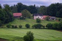 Il paesaggio alpino rurale con il villaggio sloveno in valle vicino ha sanguinato il lago al giorno soleggiato della molla sloven Immagini Stock Libere da Diritti