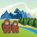 Il paesaggio con gli animali progetta, icona della montagna, illustr di Colorfull Fotografie Stock Libere da Diritti