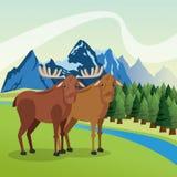 Il paesaggio con gli animali progetta, icona della montagna, illustra di Colorfull Fotografia Stock
