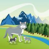 Il paesaggio con gli animali progetta, icona della montagna, illustra di Colorfull Immagini Stock Libere da Diritti