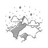 Il paesaggio d'annata di vettore con i picchi di montagna, nuvole conclude il grafico Fotografia Stock
