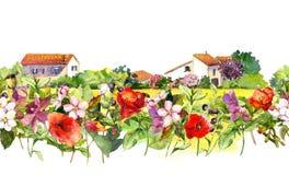 Il paesaggio del paese con il prato fiorisce, erba, erbe Confine floreale dell'acquerello - scena rurale idilliaca delle case rip immagine stock
