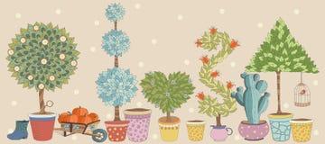 Il paesaggio dell'ars topiaria pianta il vettore della raccolta, insieme con gli alberi Immagini Stock Libere da Diritti