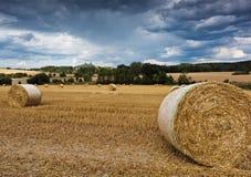 Il paesaggio dell'estate con il campo e Trosky fortificano, la repubblica Ceca Fotografia Stock Libera da Diritti
