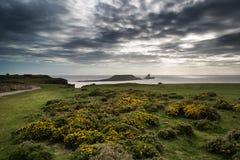 Il paesaggio dell'estate della testa del verme e Rhosilli abbaiano in Galles Fotografia Stock Libera da Diritti