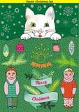 Il paesaggio dell'inverno con il gatto e bambini ed il Natale vector gli elementi, il fiocco di neve e l'insegna Fotografia Stock Libera da Diritti