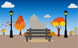 Il paesaggio della campagna in autunno con la tendenza 2019, insegna orizzontale di colore dell'illustrazione di vettore delle mo royalty illustrazione gratis
