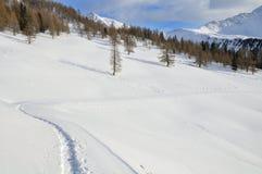 Il paesaggio della montagna dello Snowy con neve calza la pista Immagini Stock Libere da Diritti