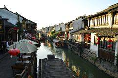 Il paesaggio della via di Shantang a Suzhou, Cina in primavera fotografia stock libera da diritti