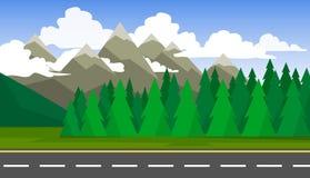 Il paesaggio delle foreste, delle montagne e delle strade Fotografie Stock Libere da Diritti