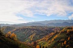 Il paesaggio di autunno della montagna con la foresta variopinta Immagine Stock Libera da Diritti