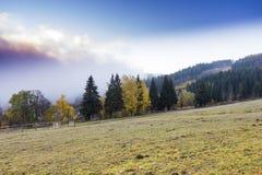 Il paesaggio di autunno della montagna con la foresta variopinta Immagine Stock