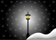 Il paesaggio di notte di inverno, la neve e la lampada di via Fotografia Stock