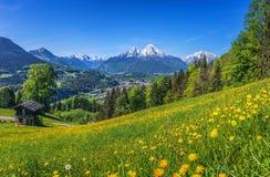 Il paesaggio idilliaco di primavera nelle alpi con la montagna tradizionale alloggia Immagini Stock Libere da Diritti
