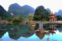Il paesaggio idilliaco in jingxi, il Guangxi, porcellana Fotografia Stock Libera da Diritti